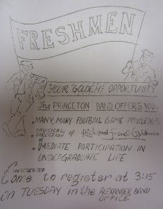 "Freshman recruitment poster highlighting the Band as a ""golden"" opportunity to delve into student life with the added benefit of free seating at football games"