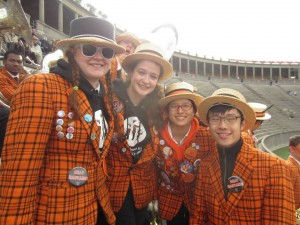 Megan Kennedy '15, Angeline Jacques '16, Rei Matsuura '16, and Frank Jiang '17 in the Coliseum, er, Harvard Stadium