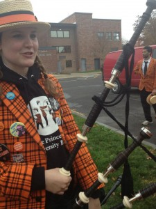 Megan Kennedy '15 and her bagpipes, a.k.a. our response to the South Amboy bagpipe invasion