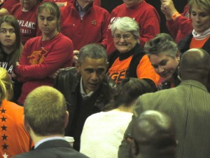 President Obama attends Round 1 of the NCAA tournament (image courtesy of Megan Kennedy '15)