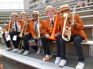 Noah M. '19, Josephine Pinnock '19, and Kyle Groves '19 form the majority of the trombone  section at the Lehigh game